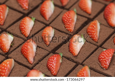 Chocolate cakes with strawberry