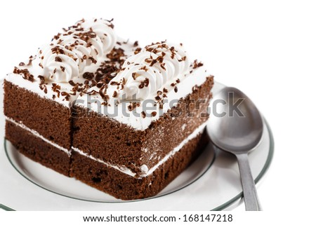 chocolate cakes with white cream on top and spoon on plate on white background(isolated) and blank area at right side
