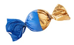 Chocolate candy in golden and blue wrapper isolated on white background. Clipping Path. Full depth of field.