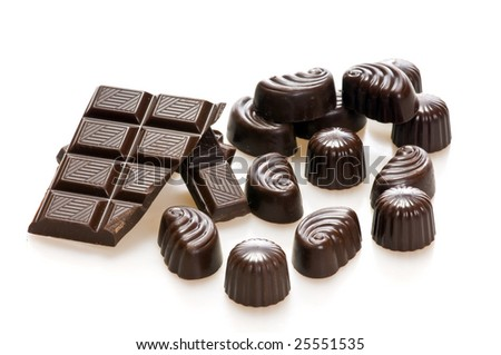 Chocolate candy isolated on white