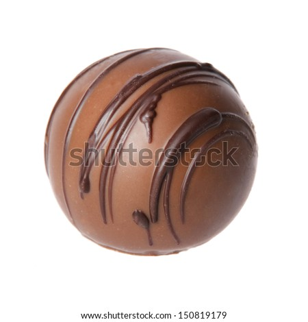 chocolate candy isolated on white background. delicious truffle