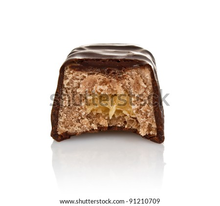 chocolate candy with filling isolated on white background