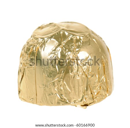 Chocolate candy wrapped in golden paper