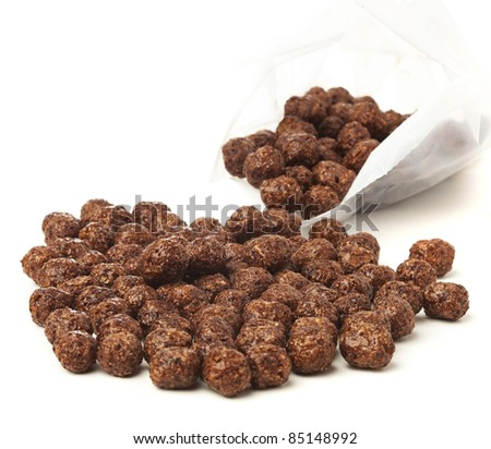 chocolate cereals isolated on a white background