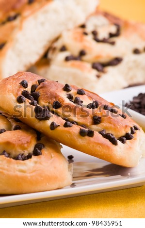 Chocolate chip brioche buns.
