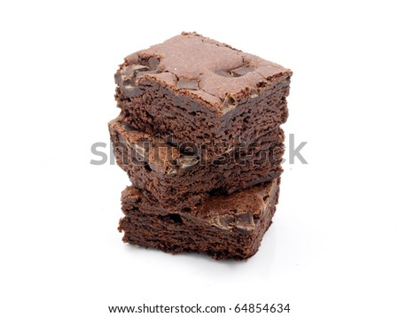 Chocolate chip brownies on white