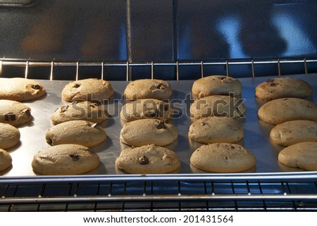 Chocolate Chip Chunk cookies baking in the oven