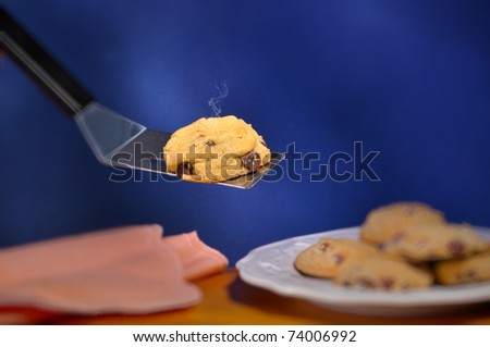 Chocolate chip cookie and plate hot from the oven