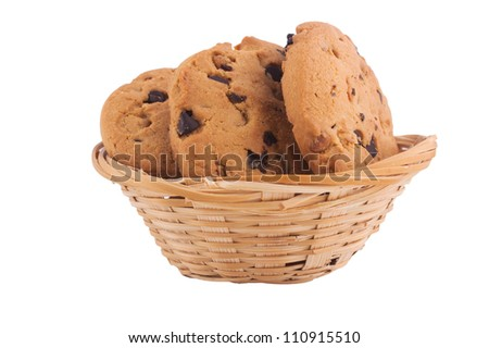 Chocolate Chip Cookie in basket. Yummy sweet cookies isolated on white background