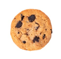 Chocolate chip cookie isolated on white background. Cookies with chocolate drops. Sweet biscuits. Homemade pastry. Top view.