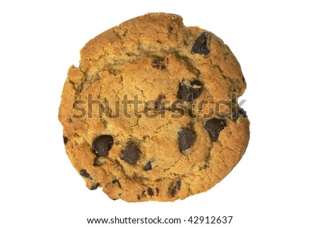 Chocolate chip cookie isolated on white with clipping path