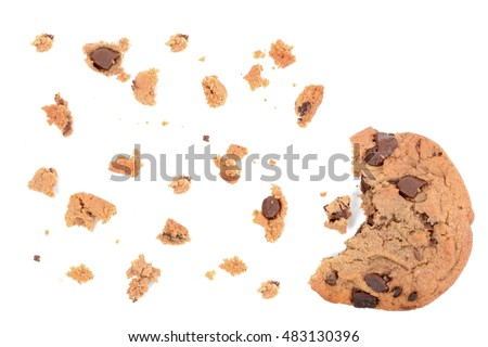 chocolate chip cookie pieces isolated on white background #483130396