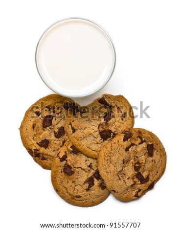 Chocolate chip cookies and a glass of milk on white background from upper view. Isolated on white.