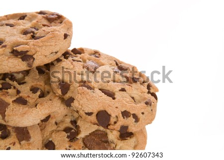 Chocolate Chip Cookies Close Up Isolated on a White Background - stock photo