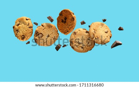 Chocolate chip cookies flying or falling over turquoise blue background. Stockfoto ©