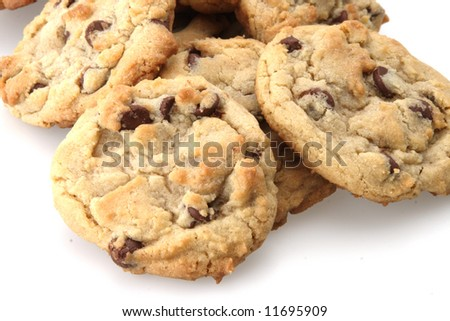Chocolate chip cookies freshly baked out of the oven