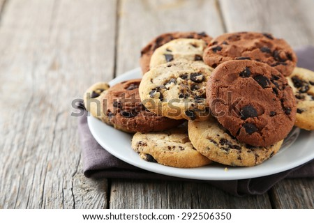 Chocolate chip cookies on plate on grey wooden background