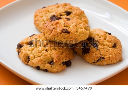 Chocolate Chip Cookies on white plate