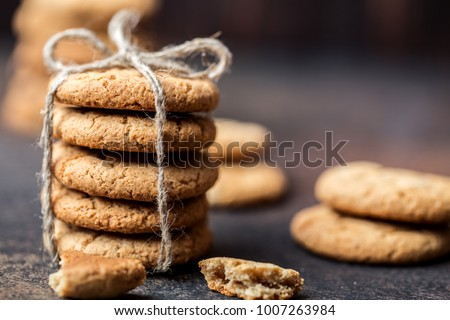 Chocolate chip cookies on wooden table. Homemade cookies dessert.