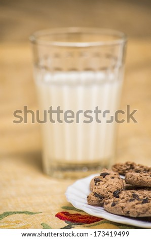 Chocolate chip cookies with a cup of milk