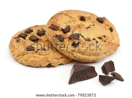 Chocolate chip cookies with chocolate parts