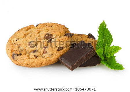 Chocolate chip cookies with chocolate parts isolated on white background.