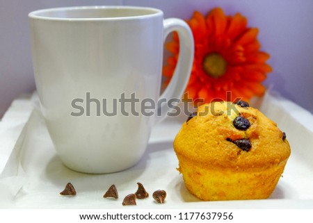 Chocolate chip cupcake is best served with coffee.