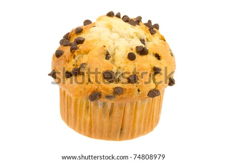 Chocolate Chip Muffin from the Bakery Isolated on a White Background