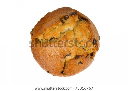 Chocolate Chip Muffin from Top View Isolated on White Background