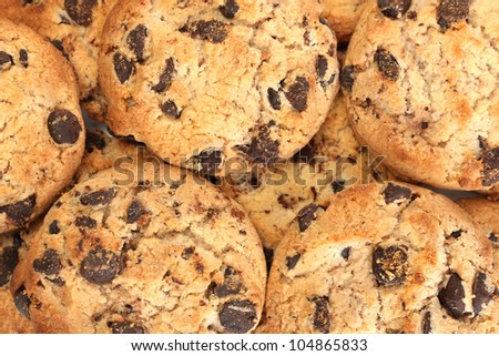 Chocolate chips cookies, close up