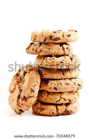 chocolate chips cookies, on white background