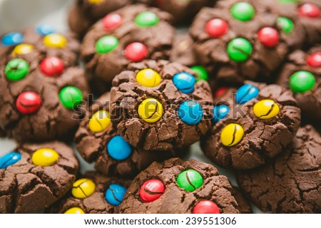Chocolate chips cookies. Selective focus. Warm colors