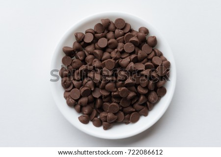 Chocolate Chips in a White Bowl