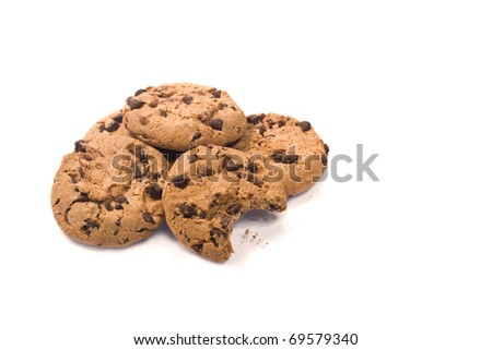 chocolate chips isolated on white