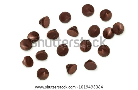 Chocolate chips morsels from top view isolated on white background