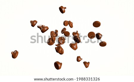 Chocolate chips morsels or drops, Falling flying isolated on white background 3d illustration