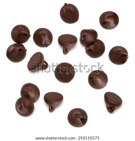 Chocolate chips morsels spread isolated on white background from top