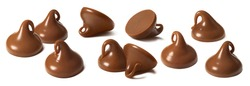 Chocolate chips set isolated on white background. Package design element with clipping path