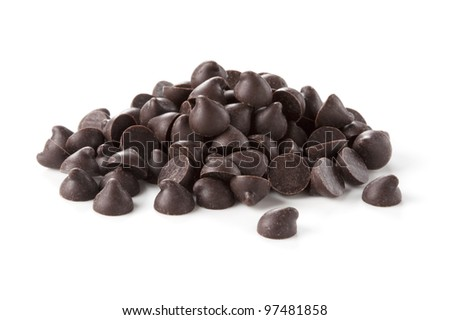 Chocolate chips was placed on a white background
