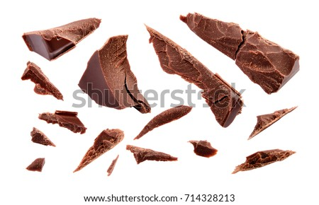 Chocolate. Chocolate pieces isolated on white. Broken chocolates. With clipping path. Collection.
