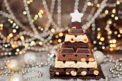 Chocolate Christmas tree. Selective focus