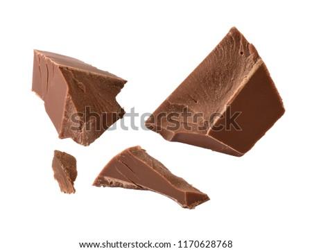chocolate chunks isolated