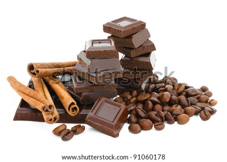 Chocolate,cinnamon and coffee beans.