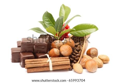 chocolate, cinnamon, hazelnuts, coffee beans