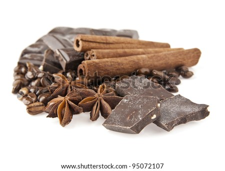 chocolate,coffee and spices on a white background