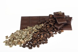 Chocolate-Coffee background: Scattered parts of broken bar dark bitter or milky chocolate and many fried coffee beans isolated on white background without shadows