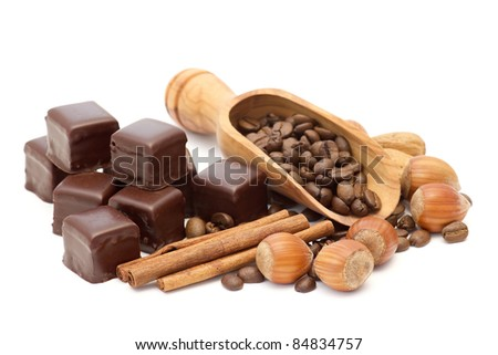 chocolate, coffee beans, cinnamon and nuts
