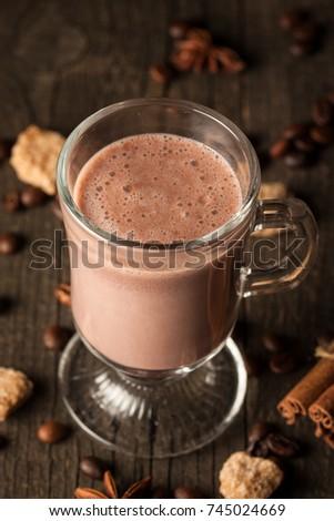Chocolate, coffee, milk, banana shake on wooden background. Smoothie with cookies. Milkshake. Protein diet. Healthy food concept. #745024669