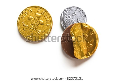 Chocolate Coins isolated on white background with shadow - stock photo