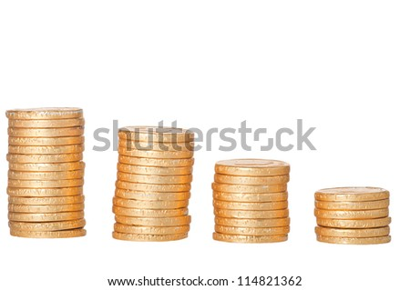 chocolate coins stack together - stock photo